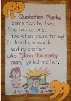 2nd Grade Smarty-Arties taught by the Groovy Grandma!: quotation marks anchor chart.