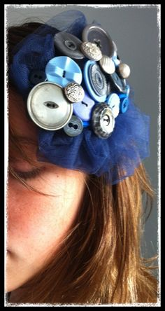 Vintage Blue Button and Tulle Hair Clip by BellaPoppyArt on Etsy, $19.50