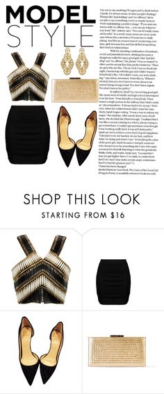"""""""Untitled #98"""" by azraa-z ❤ liked on Polyvore featuring Balmain, Zizzi, Christian Louboutin, Yves Saint Laurent, Badgley Mischka, gold, black and NightOut"""