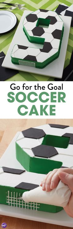 Celebrate your team's big win with this Go for the Goal Soccer Cake. Made using the Countless Celebrations Cake Pan Set, you can create a cake in any number (or letter) shape you'd like. Also perfect as a birthday cake!