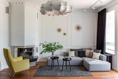 Bright modern classic apartment in Kaliningrad, Russia #interior #design #home #decor #idea #inspiration #cozy #style #room #contemporary #modern #minimalist #sofa #furniture #yellow #chair