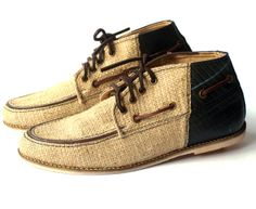 SuperEarth — upcycled coffee sack burlap and tire moc toe boots