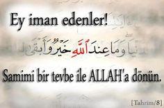 Ey iman edenler! Samimi bir Tevbe ile ALLAH'a dönün...  Tahrim /8