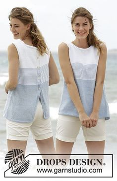 DROPS 168-4 Pattern no w-579 Top with Stripes and Button Band at the Back Knit Pattern