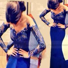 2015 Sheer lace Long sleeves evening dress with off the shoulder V neck Mermaid sheath royal blue prom gowns party gowns XH820