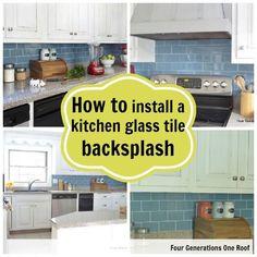 "How to install a ""removable"" backsplash {tutorial} www.fourgenerationsoneroof.com #DIY #tile #kitchen"