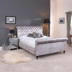 GO1142G-4 Double Grey Premium Crushed Velvet Upholstered Chesterfield Bed - Bedroom