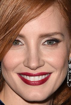 Close-up of Jessica Chastain at the 2015 Toronto premiere of 'The Martian'. http://beautyeditor.ca/2015/09/22/tiff-2015