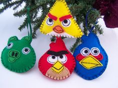 Black Friday ANGRY BIRDS Ornaments Set of 4 Christmas ornaments  Handmade NEW Boxed Child Safe