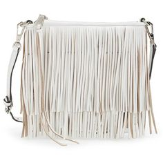 Rebecca Minkoff 'Finn' Convertible Leather Clutch ($156) ❤ liked on Polyvore featuring bags, handbags, clutches, white, genuine leather purse, leather fringe handbag, white leather handbags, rebecca minkoff purse and white purse