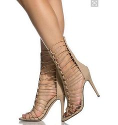 84.15$  Know more  - 2016 Summer Shoes Chic High Heel Women Sandal Boots Open Toe Hollow Out Cage Stiletto Heels Women Party Dress Shoes Real Picture