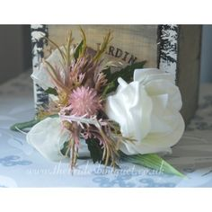 Grooms Buttonholes - Pink Thistle & Rose Wedding Corsages - Choose Rose Colour Pink Wedding Theme, Rose Wedding, Wedding Corsages, Wedding Bouquets, Thistle Wedding, Uk Bride, Pink Color Schemes, Flower Corsage, Blush And Gold