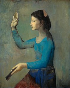Picasso's rose period.  Love how the addition of the rose hue makes those blues pop.