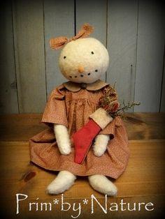 Primitive Snowman Snowgirl Folk Art Christmas Artist Doll & Christmas Stocking. Please visit me @ primbynature.com