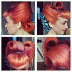Awesome, brightly colored, rockabilly hair.