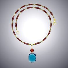 London Blue Quartz and Garnet Necklace by Judy Bliss (Gold & Stone Necklace - STUDIO SALE) | Artful Home