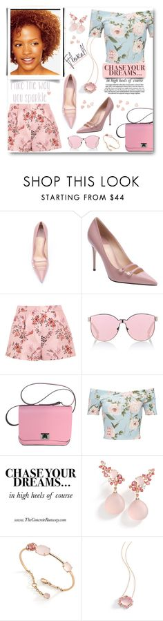 """""""Chasing Dreams (in Heels)"""" by fassionista ❤ liked on Polyvore featuring Gucci, STELLA McCARTNEY, Karen Walker, Miss Selfridge, Brumani, Summer and floralprint"""