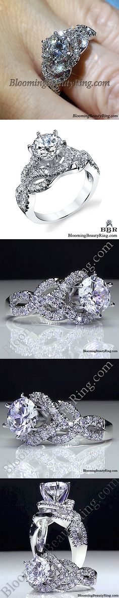 http://www.bloomingbeautyring.com/unique-engagement-rings/6-prong-beautiful-crossover-pave-set-designer-engagement-ring-bbr595/  #TwistOfFate Diamond Ring by BloomingBeautyRing.com
