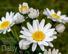Crochet Daisy Pattern - Crochet Shasta Daisy Pattern - Crochet Flower Pattern…