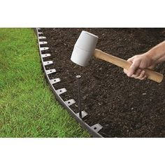 ProFlex No-Dig 100 ft. Landscape Edging Kit, Edging and accessories are black. ProFlex No-Dig 100 ft Metal Landscape Edging, Landscape Design, Metal Edging, House Landscape, Lawn Edging, Garden Edging, Sidewalk Edging, Border Garden, Landscaping With Rocks
