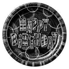 Black Glitz Happy Birthday Prismatisk Tallerken - Single