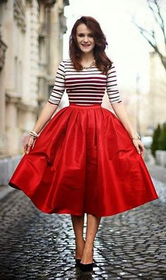 Red A-line Midi Skirt