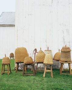 bee skeps made of coiled or braided straw were used on farms as beehives. Typically kept on stools away from prediators