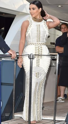 Kim Kardashian plays up to nautical theme as she attends MailOnline's party during Cannes Lions 2014 | Mail Online