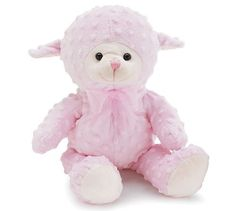 """Pink Lamb - Plush - Stuffed Animal - Baby or Infant Gift - 10 1/2 Inches Tall (Pink) by Burton and Burton. $19.95. Blue minky chenille dot """"bumpy"""" fabric. Cream muzzle, bottom of feet, and inside ears. Sheer blue ribbon. Hard plastic eyes. Easy tie ribbon loop. 10.5""""H measured sitting. Would make such a soft, cuddly, cute gift for baby!. Save 23% Off!"""