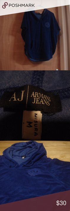 ARMANI JEANS blue short sleeve hoodie a great take on the hoodie from ARMANI JEANS. blue terry cloth w/ ARMANI JEANS logo on upper left w/ front pouch pocket. short dolman sleeves. only worn a few times. size: M.  excellent pre-owned condition (only worn a few times)  THANK-YOU! OPEN TO OFFERS  ANY QUESTIONS?...JUST ASK CHECK OUT MY OTHER LISTINGS ARMANI JEANS Tops Sweatshirts & Hoodies