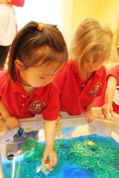 Under the Sea Preschool Sensory Table - Using Jello, Dyed Green Spaghetti, and Small Toys