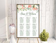Garden Hydrangeas Printable Wedding Seating Chart, Wedding Seating Poster, Wedding Seat Sign, Wedding Seating Board WD68 TH14 WC31
