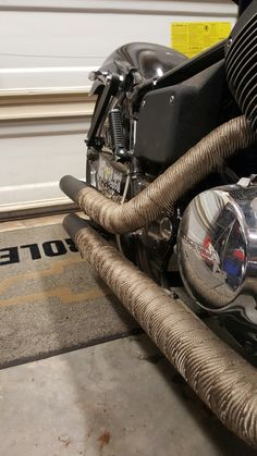 Header wrapped exhaust Motorcycle Exhaust, Honda Shadow, Cafe Racers, Exhausted, Bobber, Header, Spirit, Building, Street