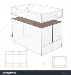 DIY Gift Box - Storage Box With Lid And Tray And Blueprint Template Stock Vector Illustration. Cardboard Storage, Storage Boxes With Lids, Diy Cardboard, Box Storage, Gift Wrap Box, Diy Gift Box, Diy Box, Bottle Drawing, Acrylic Display Stands