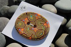 OOAK Handmade Oval Polymer Clay MultiColored by SunshineTextiles, $6.00