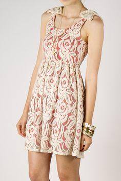 Floral Lace Dress w/ Bow Shoulders