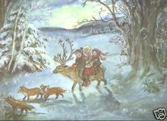 1 Rare Vintage Tasha Tudor Reindeer Ride Christmas Greeting Card MINT in Envlope