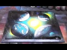 Beginner Galaxy spray paint art-I was obsessed with this!!Would watch a guy at the swap meet do this!!!