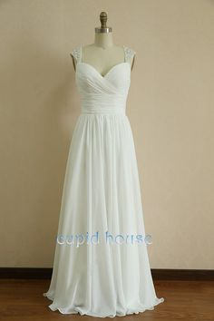 Floor Length Pretty White Spaghetti Straps Chiffon Bridesmaid Dresses, New Arrival Long Beaded Ruched Chiffon Formal Dresses, Wedding Party Dresses,Prom Gowns Prom Dresses 2015, A Line Prom Dresses, Evening Dresses, Formal Dresses, Dress Prom, Prom Gowns, Navy Blue Bridesmaid Dresses, Wedding Bridesmaid Dresses, Wedding Party Dresses