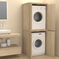 Veca srl produces and sells online Column cover with doors for washing machine - Bathroom furniture - Laundry, made of wood, to cover household appliances Modern Laundry Rooms, Laundry Room Layouts, Farmhouse Laundry Room, Laundry Room Organization, Laundry In Bathroom, Organization Ideas, Downstairs Bathroom, Laundry In Closet, Outside Laundry Room