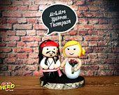 Jack Sparrow Johnny Depp and Bride Cake Topper Chalkboard Captain Sparrow Wedding Cake Topper Handmade