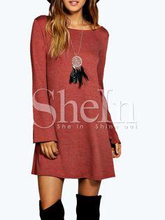 Vestido cuello redondo casual -rojo 14.71