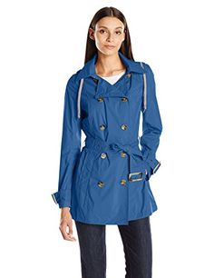 ANORAK Women's Packable Trench, Navy, Large