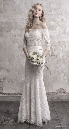 madison james fall 2018 bridal three quarter sleeves off the shoulder full embellishment elegant vintage fit and flare sheath wedding dress lace back sweep train (1) mv