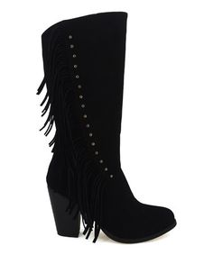 Look what I found on #zulily! Black Fringe Brook Boot #zulilyfinds