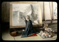 This ca.1915-1928 image by T. ENAMI is only one of a handful of fine views I've seen from the Bakumatsu, Meiji, and Taisho eras showing a seated artist at work in old Japan.