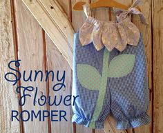 Sunny Flower - Pillowcase Romper Pattern. Baby Children Clothing Sewing Pattern. Easy Sew Sizes 1/2, 1, 2, 3, 4 included