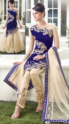 Add an alluring look to your personality. The designer salwar kameez in royal blue and cream color