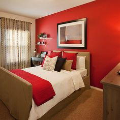 Scarlet Red Accent Wall in Bedroom Red Bedroom Design, Bedroom Red, Accent Wall Bedroom, Bedroom Colors, Home Bedroom, Indian Bedroom Decor, Red Wall Decor, Red Walls, Red Rooms