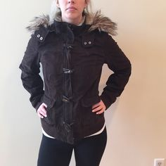Abercrombie and Fitch winter coat Perfect coat with faux fur hood and red plaid interior. Definitely a heavier warm jacket. Great condition Abercrombie & Fitch Jackets & Coats